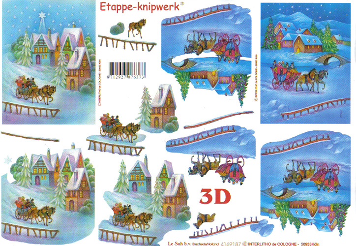 Le Suh Sleigh in Starry Night 3D Step by Step Decoupage 187