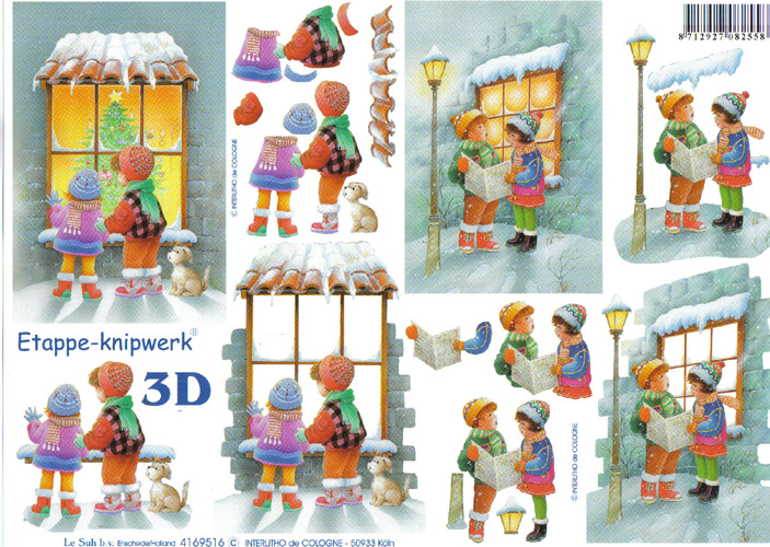 Le Suh Children at Xmas 3D Step by Step Decoupage 516