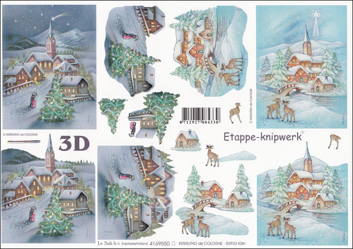 Le Suh Snow Scene 3D Step by Step Decoupage 550