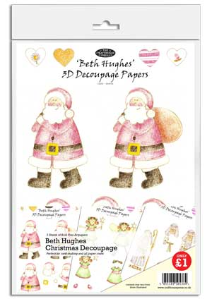 3 Sheets Xmas Santa Jolly Nation 3D Decoupage
