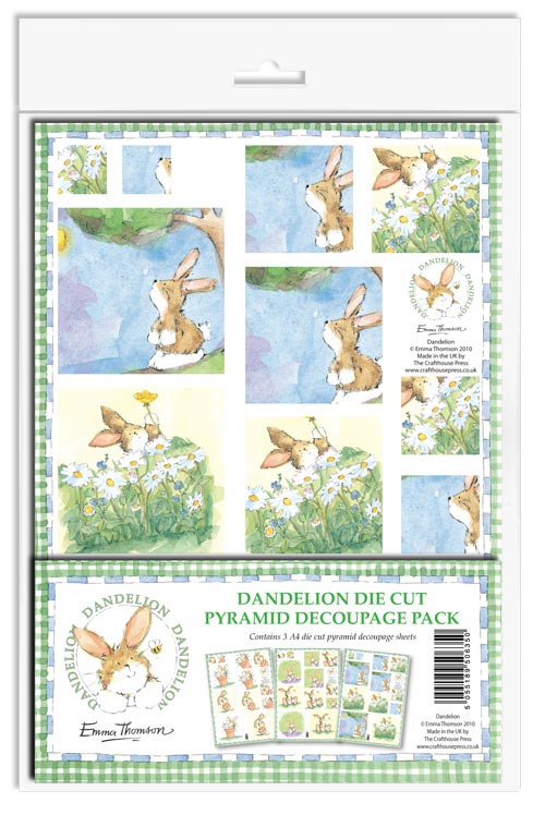 Dandylion Pack DIE CUT Pyramid Decoupage Pack ~ Cute Rabbit