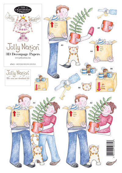 Jolly Nation Moving House Couple DIE CUT Decoupage