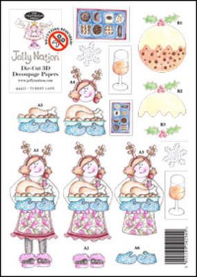 Jolly Nation Turkey Lady A5 DIE CUT 3D Decoupage