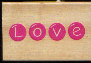 L O V E  in Red W/M rubber stamp
