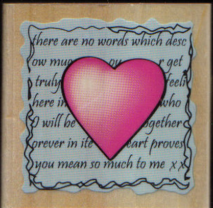 Message of love words W/M rubber stamp