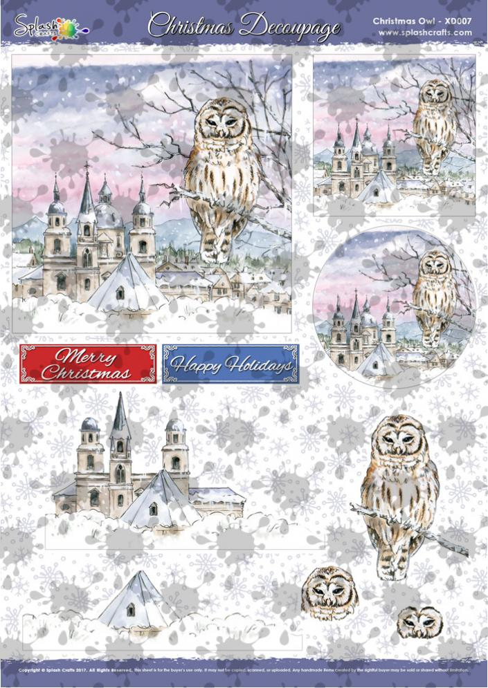 A4 Christmas Decoupage - Christmas Owl