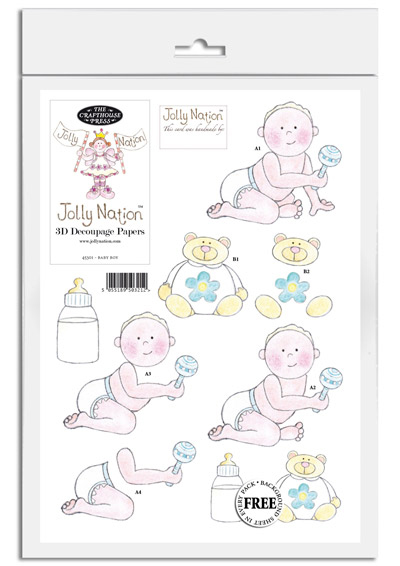 Jolly Nation Baby Boy DIE CUT Decoupage