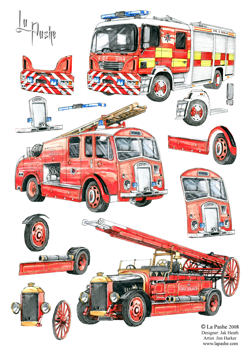 Fire engines ~ Decoupage by La Pashe