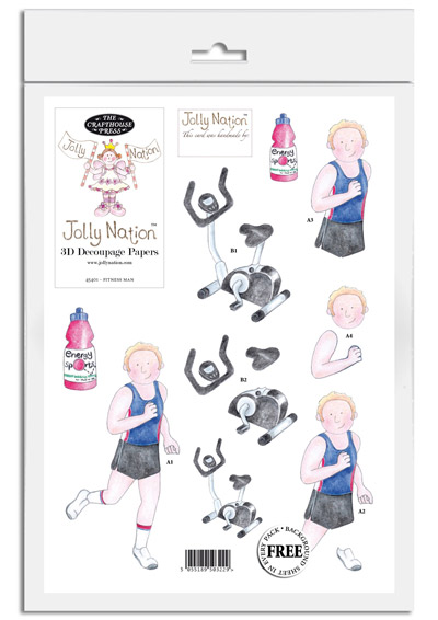 Jolly Nation Fitness Man DIE CUT Decoupage