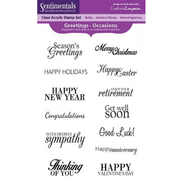 Sentimentals A6 Acrylic Stamp - Greetings - Occasions