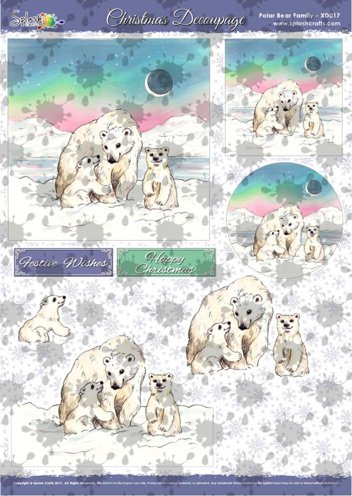 A4 Christmas Decoupage - Polar Bear Family
