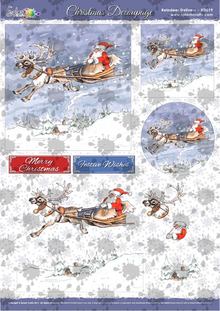 A4 Christmas Decoupage - Reindeer Delivery