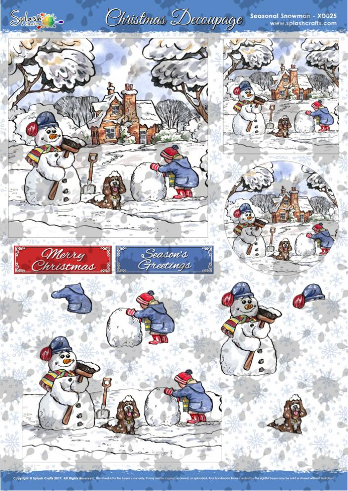 A4 Christmas Decoupage - Seasonal Snowman