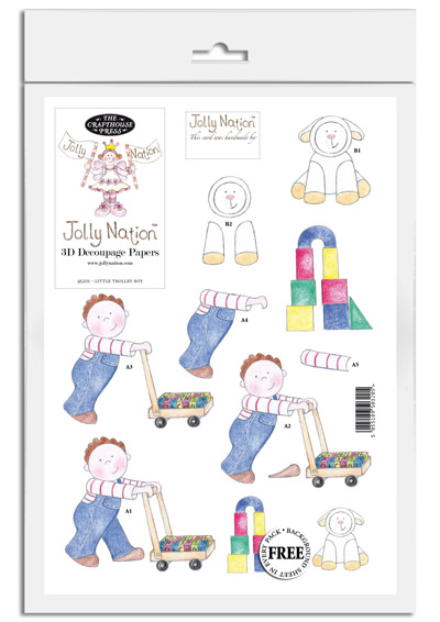 Jolly Nation Little Trolley Boy DIE CUT Decoupage