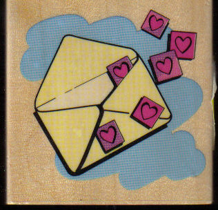 Red Hearts floating out envelope W/M rubber stamp