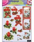 GLITTERED Christmas 60 DIE CUT 3D SBS Decoupage
