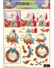 Santa, Lantern & Wreath 3D SBS Decoupage 971