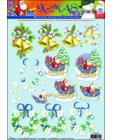 02 XMAS Bells/Santa on Sleigh 3D Step by Step Decoupage