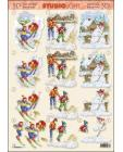 Children Skiing 3D Step by Step Decoupage 376